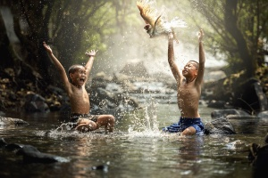 children, river, splash, bird, boys, swimming, water