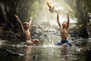 trẻ em, sông, giật gân, chim, con trai, bơi, nước