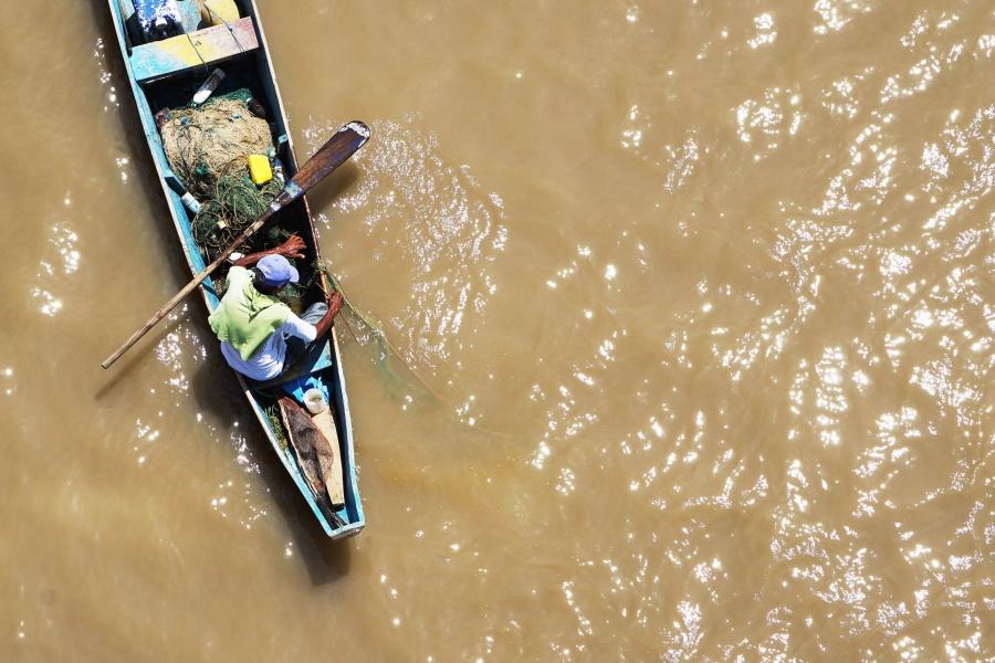 Wasser, Boot, Fischer, Angeln, Fluss
