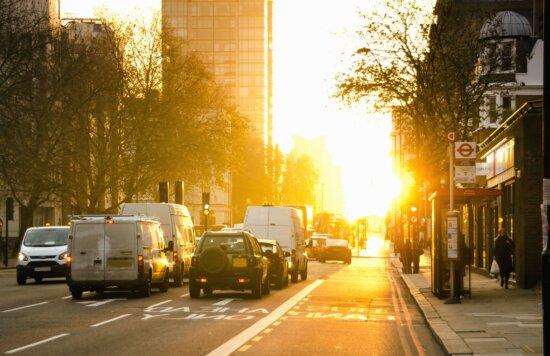 traffic, asphalt, buildings, cars, city, road, street, sun