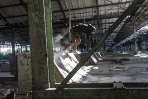 graffiti, man, person, skater, skating, abandoned, building