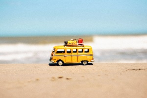toy, car, beach, waves