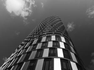 tower, windows, monochrome, sky, building, clouds