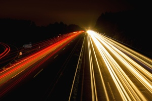 lights, night, highway, highway, speed, car