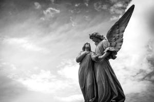 sculpture, sky, statue, angel, art, clouds, figure