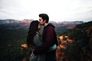 hug, kiss, landscape, love, fashion, girl, man, mountain, nature