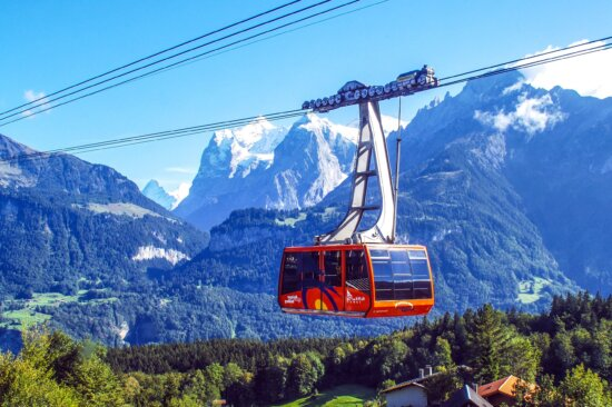 transport, valley, woods, cable, clouds, sky, snow, transportation