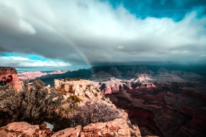 rainbow, valley, canyon, cliff, clouds, geology