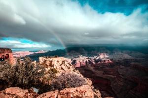 Arcobaleno, valle, canyon, scogliera, nuvole, geologia