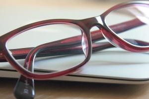 Bureau, lunettes, lentille