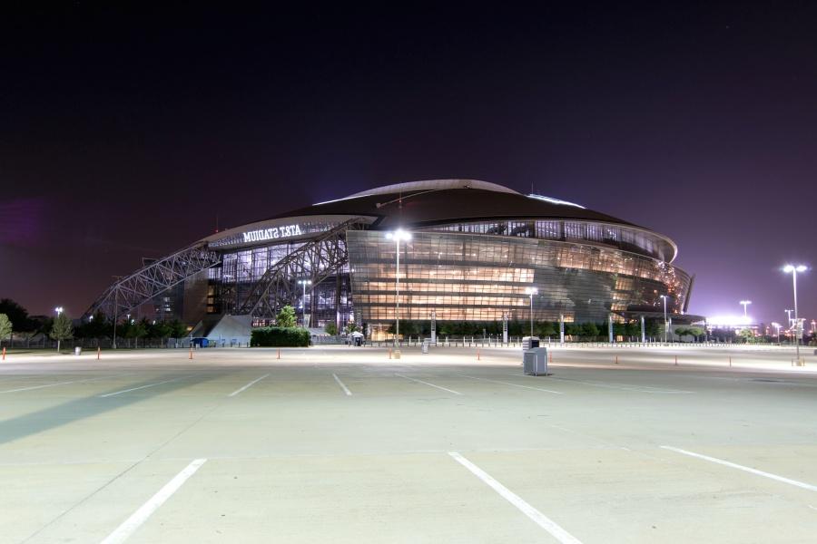 Estacionamiento, estadio, edificio, fútbol, campo, luces