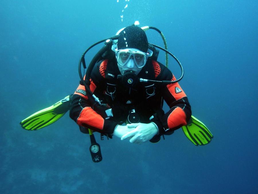 morze, pod wodą, wody, głębokie, nurek