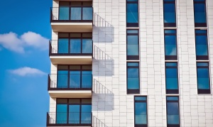 reflection, sky, urban, windows, apartment, architecture, balcony, building, clouds