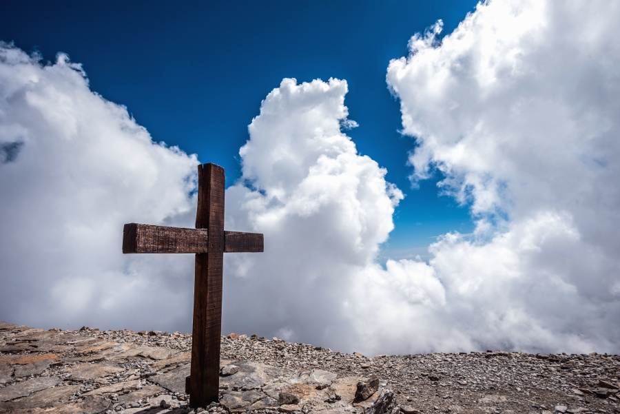 Free Picture Cross Rocks Christianity Clouds