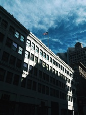 旗子, 大厦, 阴影, 天空