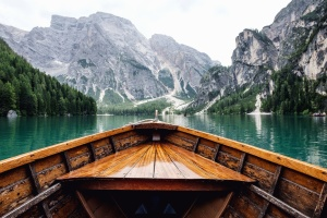 sky, summer, boat, tourism, travel, trees, water, wood,  landscape, mountain, nature