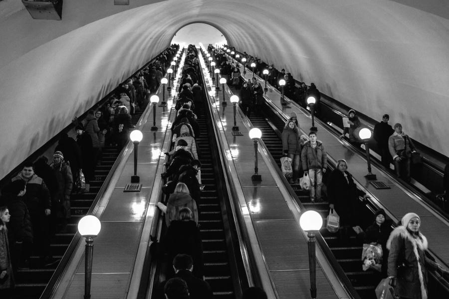 Personnes, voyages, urbain, architecture, bâtiment, escalators