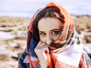 portrait, scarf, woman, face, eyes, face, hand