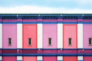 colourful, wall, windows, architecture, building