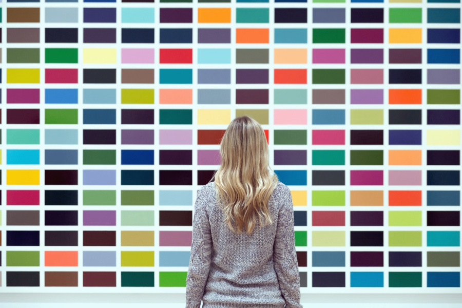 person, woman, art, blonde, colorful, wall
