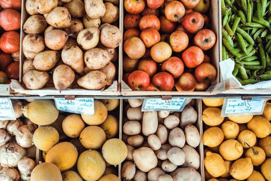 Zutaten, Markt, Schachteln, Farben, Lebensmittel, Obst, Gemüse, Lebensmittelgeschäft