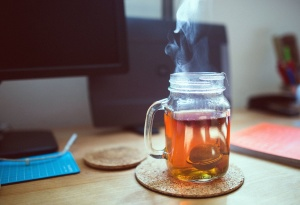 glass, tea, liquid, jar, notebook, smoke, table