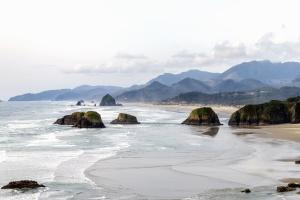 sea, beach, island, mountains, nature, water, rocks, sand