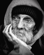 man, old, person, profile, portrait, homeless