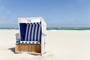 sedadla, breh, neba, beach, leto, voda, vlny
