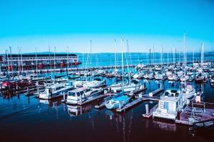 Eau, yacht, bateaux, quai, port, ciel, transport