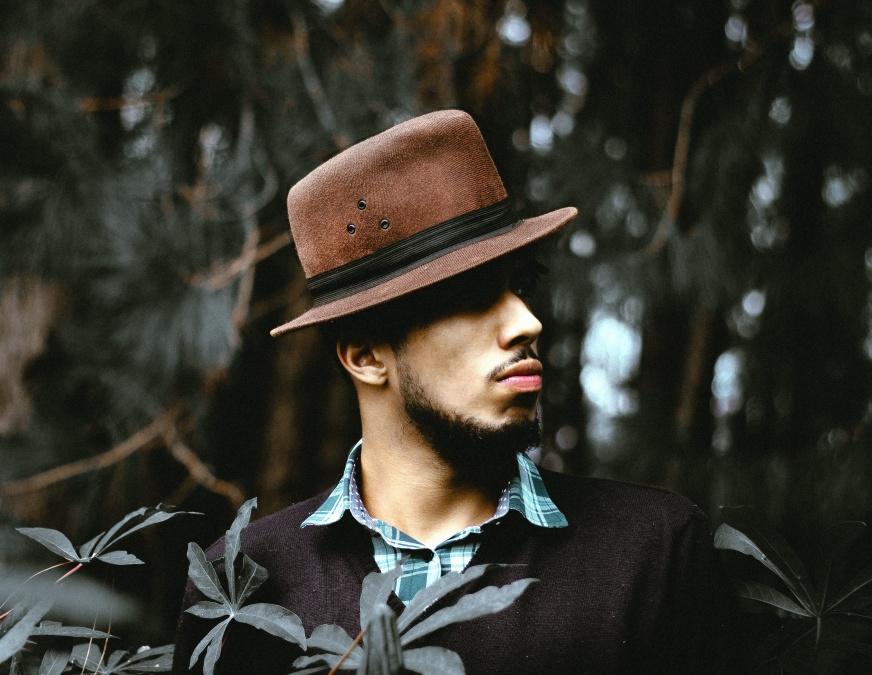 mann, bilde modell, lue, mote, skog, stående