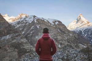 natur, person, fjell, snø, kaldt, landskap, fjell