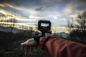 rejse, videokamera, optagelse, landskab, bjerg, natur