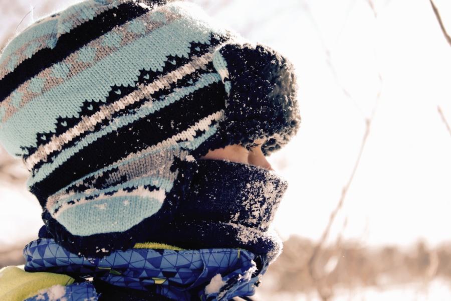persoon, sneeuw, winter, koude, cap