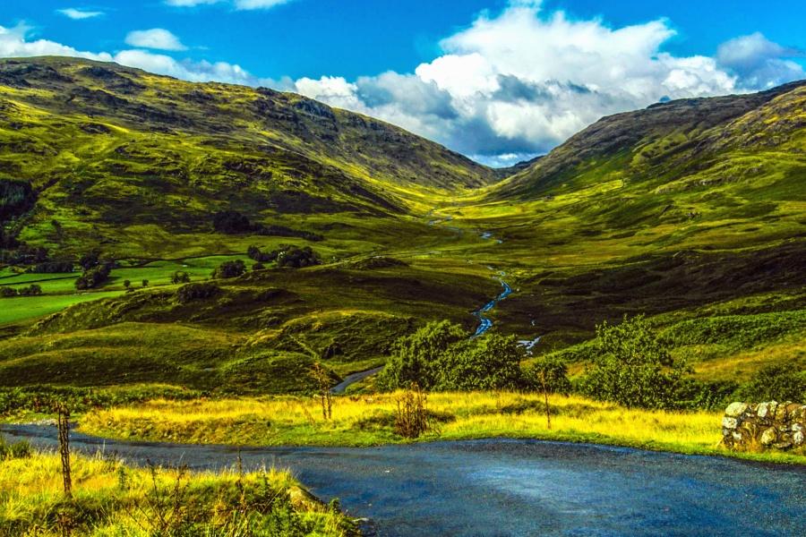 Paysage, montagne, nature, nuages, rivière, route, rural