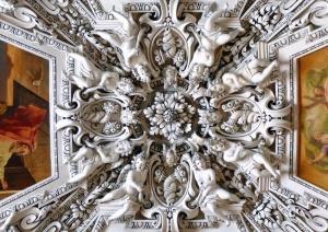 church, dome, interior, architecture, art, ceiling, statues, baroque
