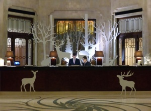 front desk, decoration, winter, lamp, hotel, deer, christmas