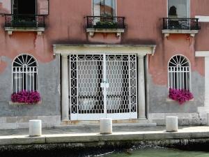 front door, window, building, architecture, flowers, poles