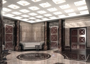 door, wall, interior, sofa, table, floor tiles