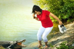 woman, alligator, water, danger