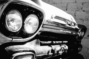 bilen, forlygte, hætte, oldtimer, væg