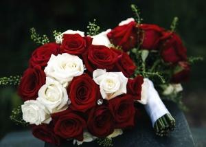 Bouquet, fleurs, mariage, roses, table, cérémonie