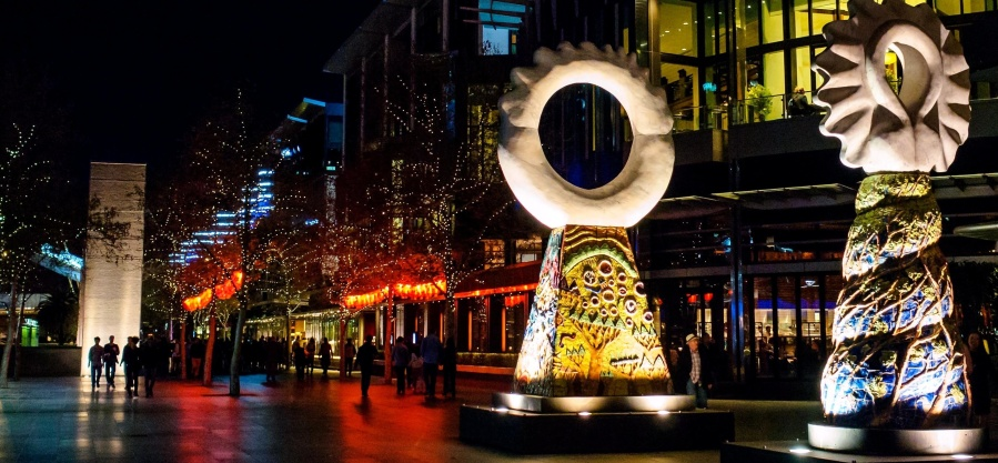 umjetnički, skulpture, ulica, grad