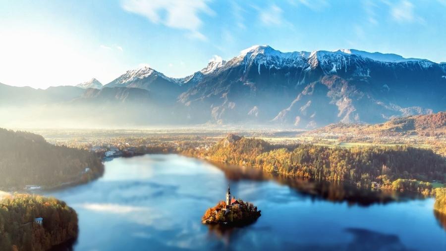 Bäume, Wasser, Wetter, Winter, Wolken, Land, Nebel, Gletscher, Eis, Insel, See