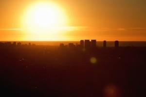 budovy, město, západ slunce, silueta