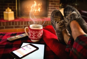 smartphone, house, fireplace, flame, food, beverage, celebration, coffee cup