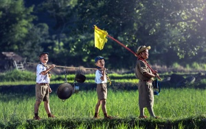 people, boy, scouts, children, crops, fun, grass, happy, joy, kids