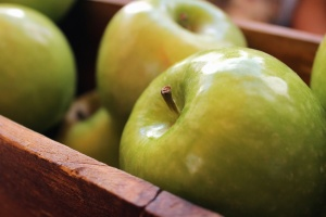 food, fruit, apple, wooden box