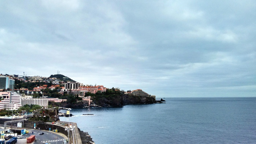 Viaje, agua, playa, barco, edificios, ciudad, nubes, costa