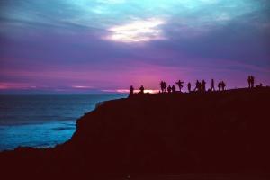 sea, cliff, coast, silhouette, sky, water